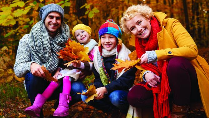 Family enjoys fall walk