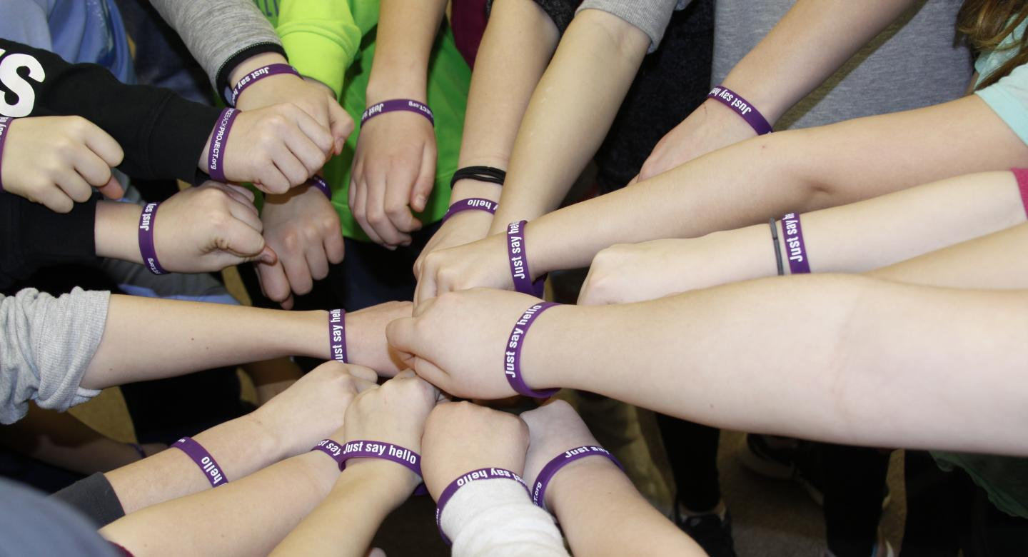 students with bracelets