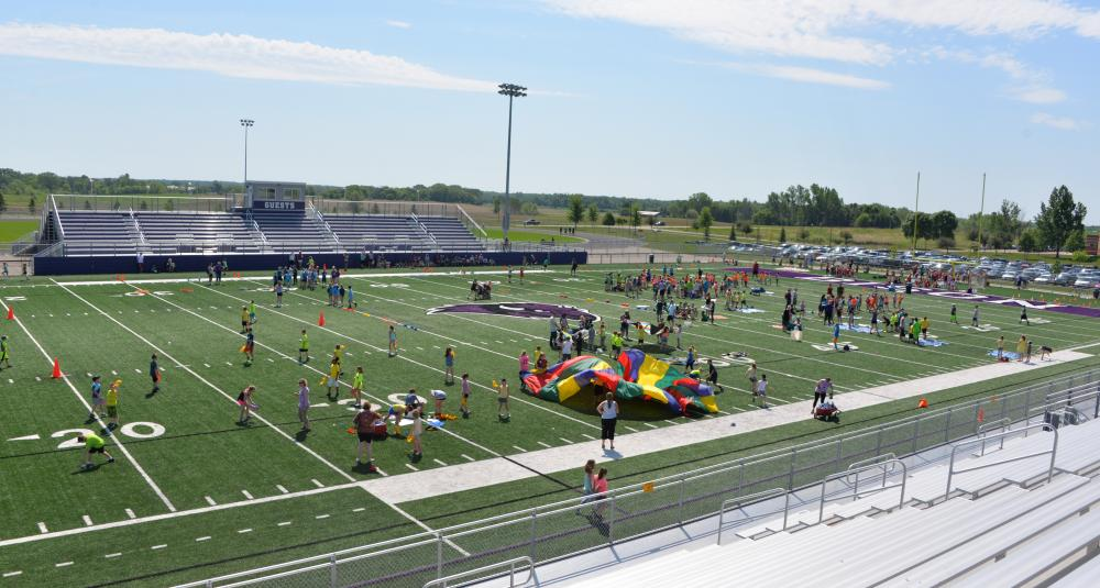 sky view of track and field day